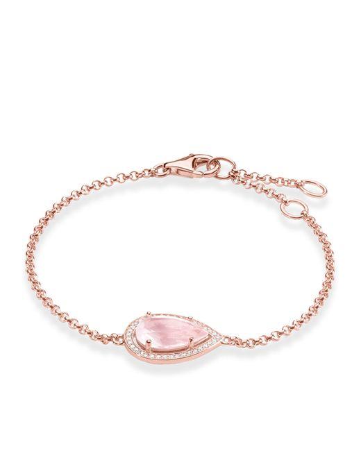 Thomas Sabo | Pink Maharani Rose Quartz Drop Bracelet | Lyst
