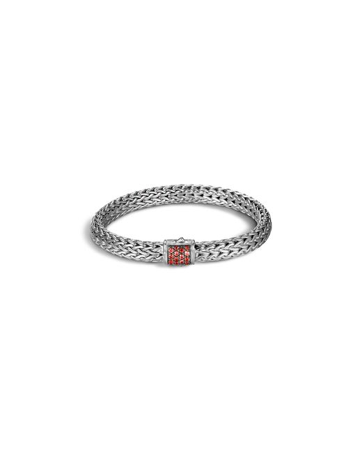 John Hardy | Classic Chain Sterling Silver Lava Medium Bracelet With Red Sapphire | Lyst