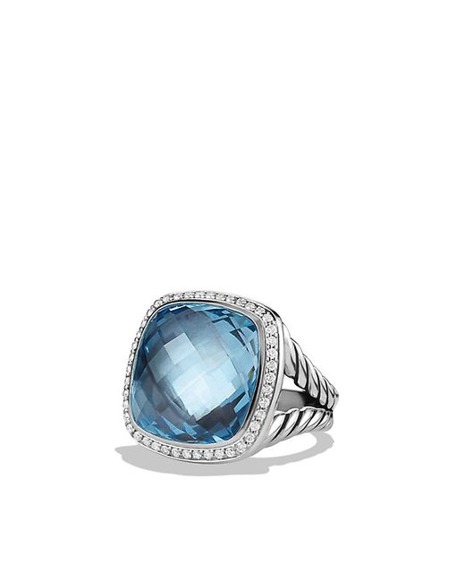 David Yurman | Albion Ring With Blue Topaz And Diamonds, 17mm | Lyst
