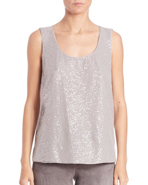 Lafayette 148 New York | Gray Cleo Sequined-front Silk Georgette Tank | Lyst
