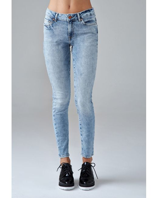 Forever 21 | Blue Mid-rise Skinny Jeans | Lyst