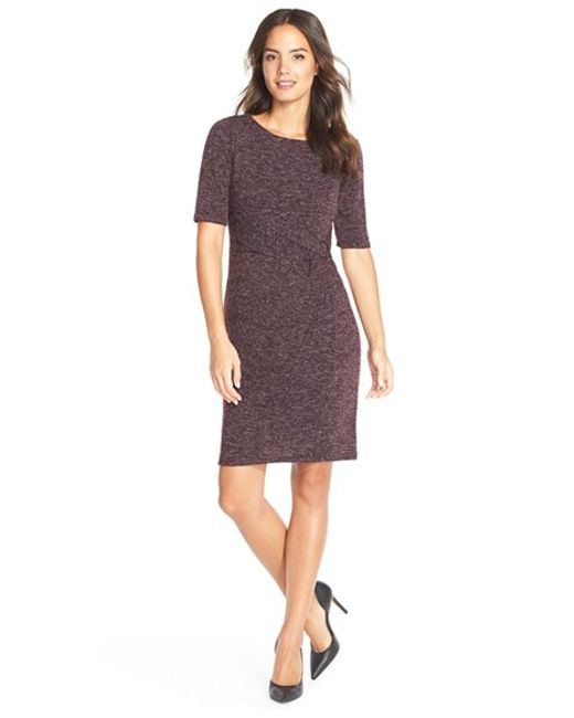 Ellen Tracy | Purple Heathered Knit Sheath Dress | Lyst