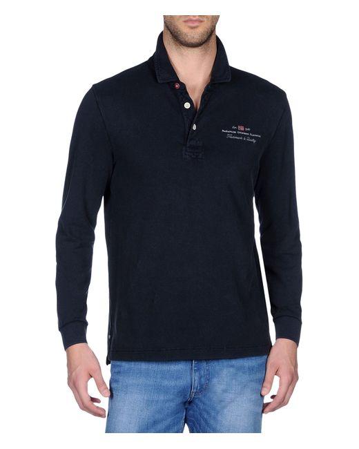 Napapijri | Blue Long Sleeve Polo for Men | Lyst