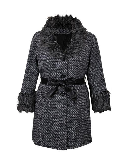 Izabel London | Multicolor Shawl Faux Fur Details Check Knit Cardigan | Lyst