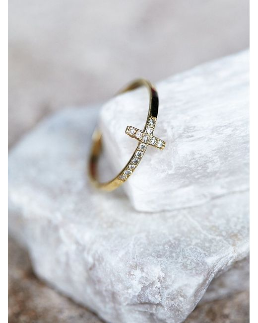 Free People | Metallic Diamond Cross Ring | Lyst