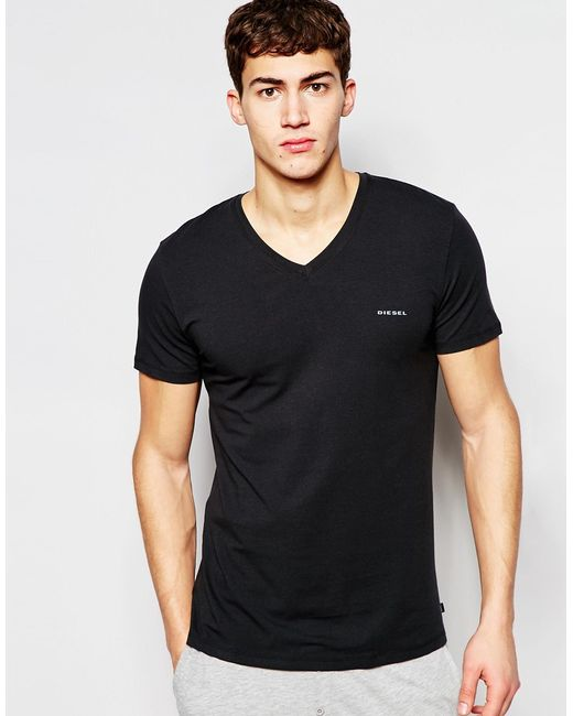 Diesel Logo V-neck T-shirt In Regular Fit in Black for Men - Save 41% | Lyst