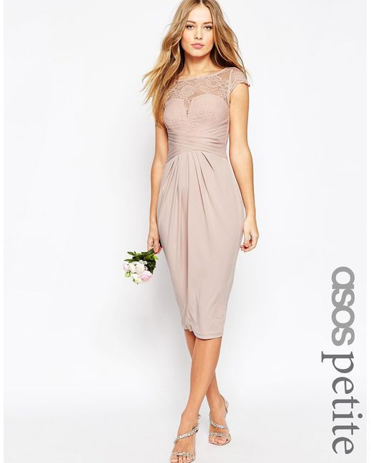 asos wedding lace top pleated midi dress in pink nude  lyst