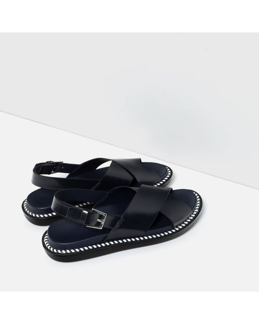 Zara Flat Sandals With Crossover Strap In Black Navy Blue