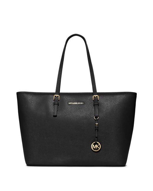 MICHAEL Michael Kors | Black Jet Set Leather Travel Tote | Lyst