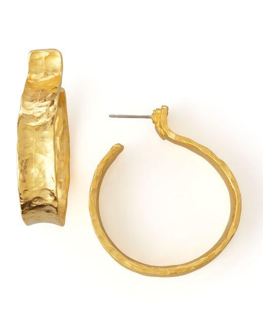 Kenneth Jay Lane | Metallic Hammered Satin Golden Hoop Earrings | Lyst