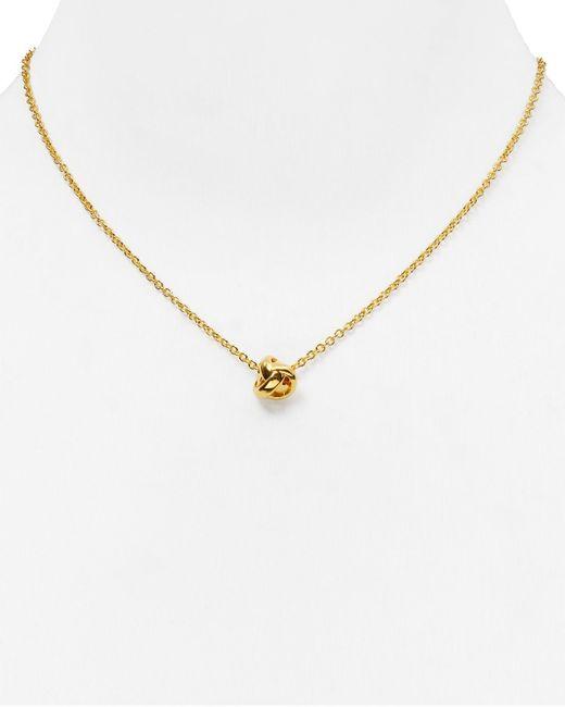 "Kate Spade | Metallic Dainty Sparklers Knot Pendant Necklace, 17"" | Lyst"