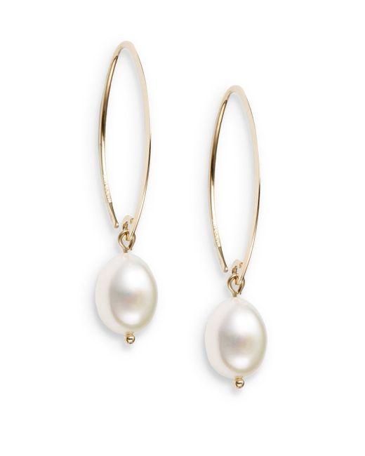 Saks Fifth Avenue | Metallic 10mm White Oval Freshwater Pearl & 14k Yellow Gold Drop Earrings | Lyst