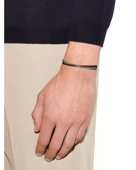 Zadeh | Metallic Liam Leather And Silver Cuff for Men | Lyst