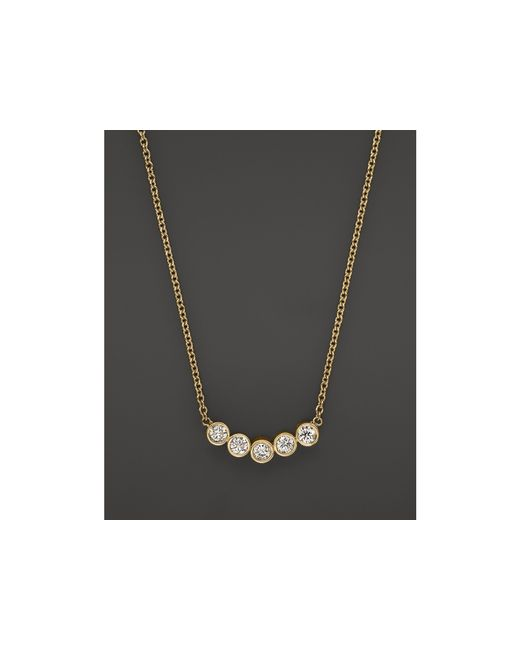 Zoe Chicco | Metallic 14k Yellow Gold Delicate Five Diamond Necklace, 16"