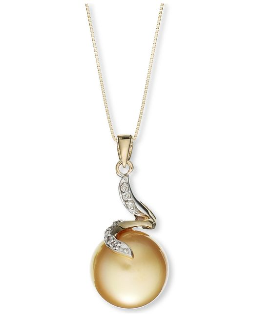 Macy's | Green 14k Gold Golden South Sea Pearl (14mm) And Diamond Accent Crown Pendant Necklace | Lyst