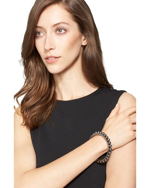 St. John | Metallic Faux Pearl Bangle | Lyst