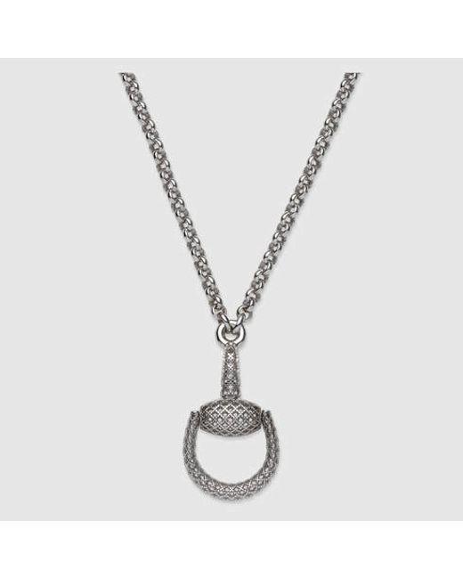 Gucci | Metallic Sterling Silver Horsebit Pendant | Lyst