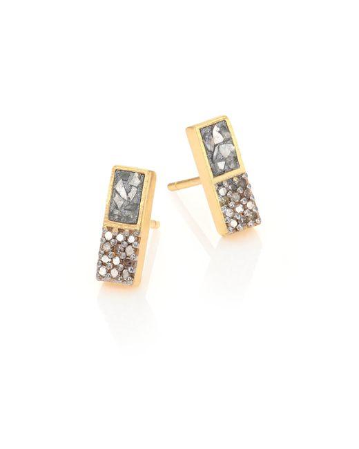 Shana Gulati | Metallic Banjara Alwar Sliced Raw & Champagne Diamond Stud Earrings | Lyst
