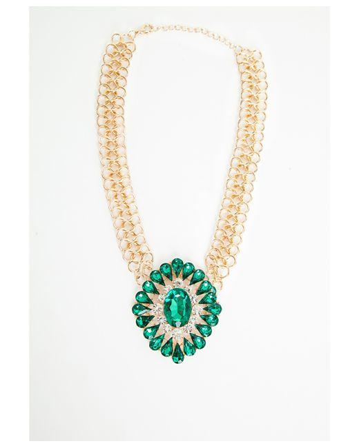 Missguided | Green Megana Oversized Gem Statement Necklace | Lyst