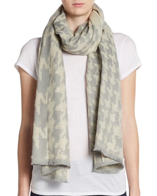 Saks Fifth Avenue | Gray Houndstooth Scarf | Lyst