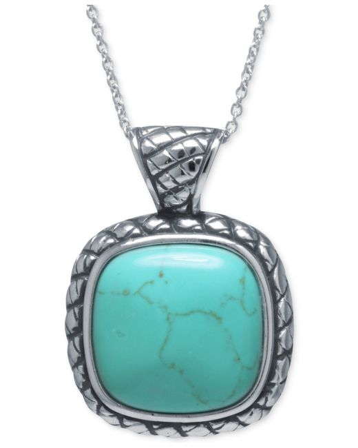 Macy's | Blue Manufactured Turquoise Square Pendant Necklace In Sterling Silver | Lyst
