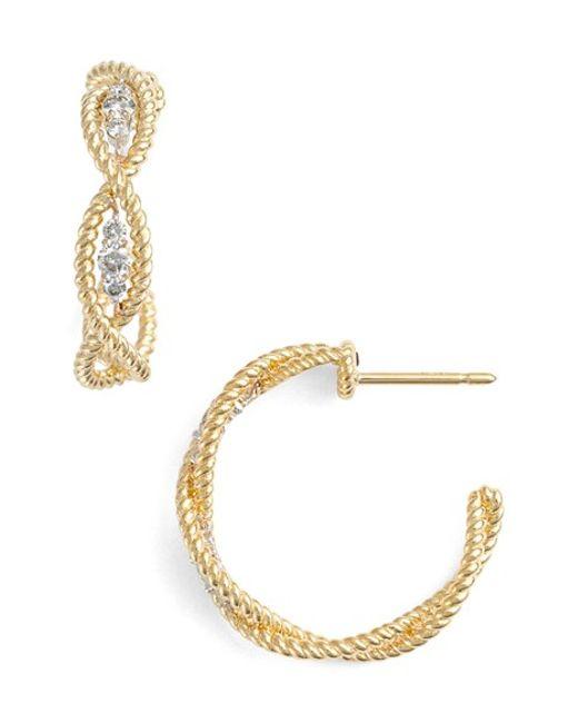Roberto Coin | Yellow 'new Barocco' Diamond Hoop Earrings | Lyst
