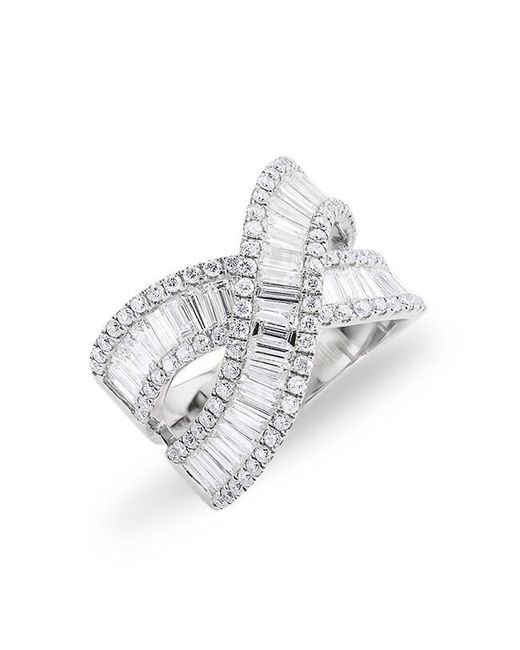 Anne Sisteron   Metallic 14kt White Gold Baguette Diamond Wrap Ring   Lyst