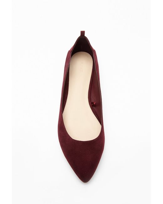 Forever 21 | Purple Cutout Faux Suede Flats | Lyst
