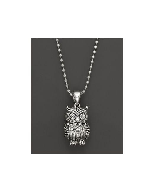 "Lagos | Metallic Sterling Silver Rare Wonders Owl Pendant Necklace, 34"" | Lyst"