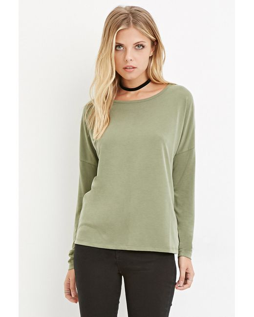 Forever 21 | Green Contemporary Boxy Long-sleeve Top | Lyst