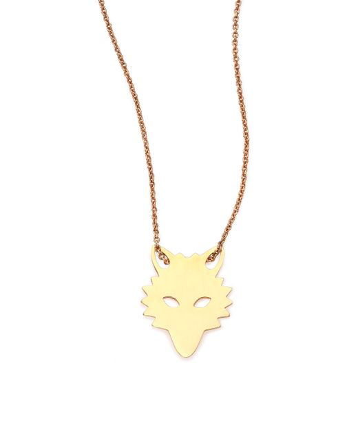 Ginette NY | Pink Wolf 18k Rose Gold Pendant Necklace | Lyst