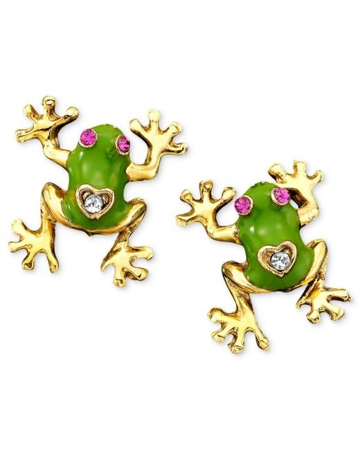 Betsey Johnson | Green Frog Stud Earrings | Lyst