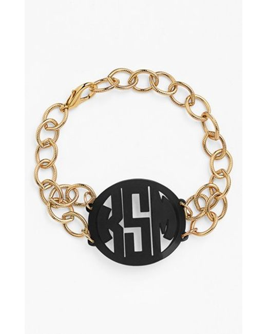 Moon & Lola | Black 'annabel' Medium Personalized Monogram Bracelet | Lyst