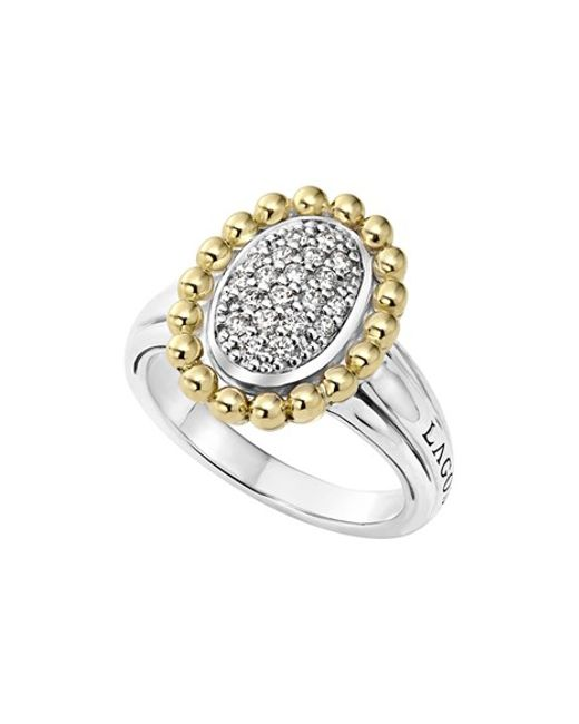 Lagos | Metallic Diamond Caviar Oval Ring | Lyst
