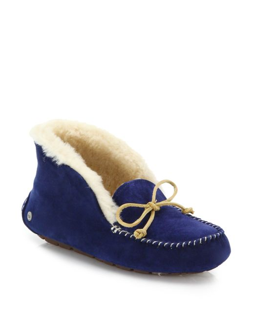 UGG | Blue Alena Collared Tie Slipper | Lyst