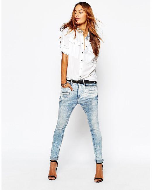 g star raw davin 3d low rise boyfriend jeans in blue bleachlightblue lyst. Black Bedroom Furniture Sets. Home Design Ideas