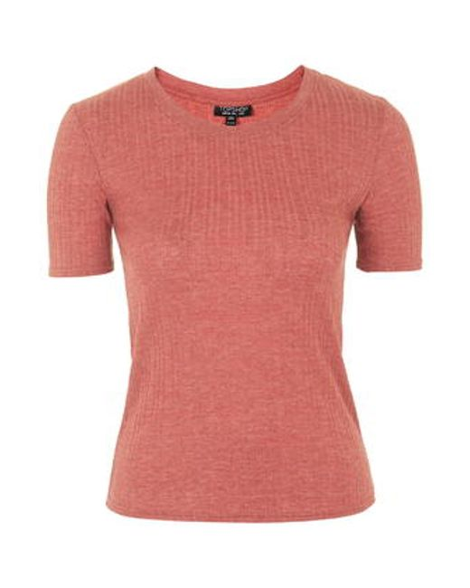 TOPSHOP | Red Ribbed Tee | Lyst