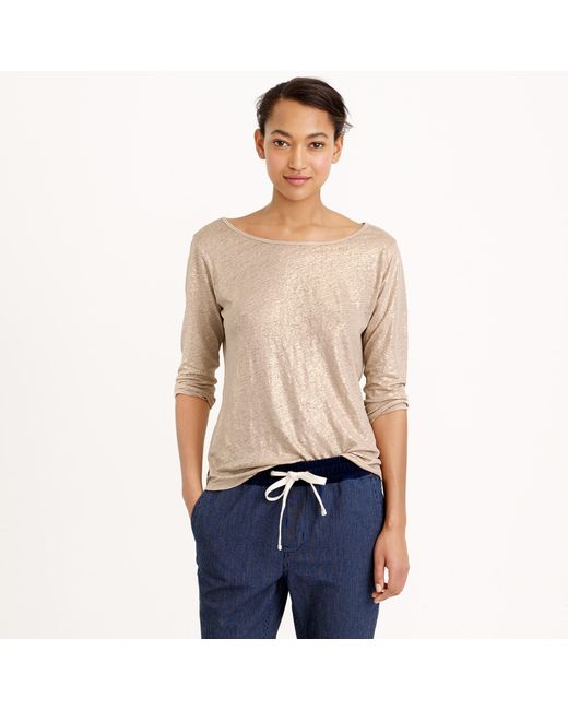 J.Crew | Linen Boatneck T-shirt In Metallic | Lyst
