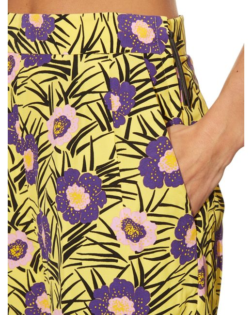 Marni   Yellow Asticon-print High-rise Straight-leg Trousers   Lyst