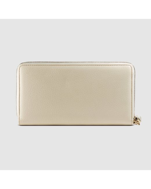 Gucci Soho Leather Zip Around Wallet in White (off-white ...
