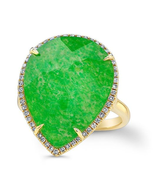 Anne Sisteron | Green 14kt Yellow Gold Jade Diamond Pear Shape Cocktail Ring | Lyst