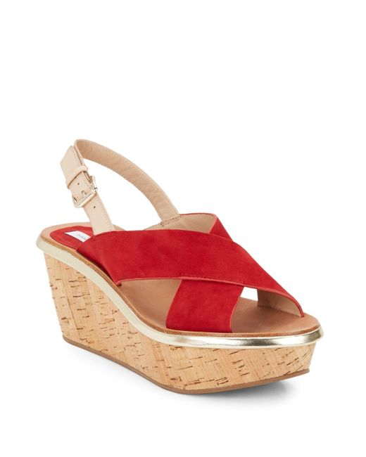 Diane von Furstenberg | Red Maven Suede Crisscross Cork Platform Sandals | Lyst