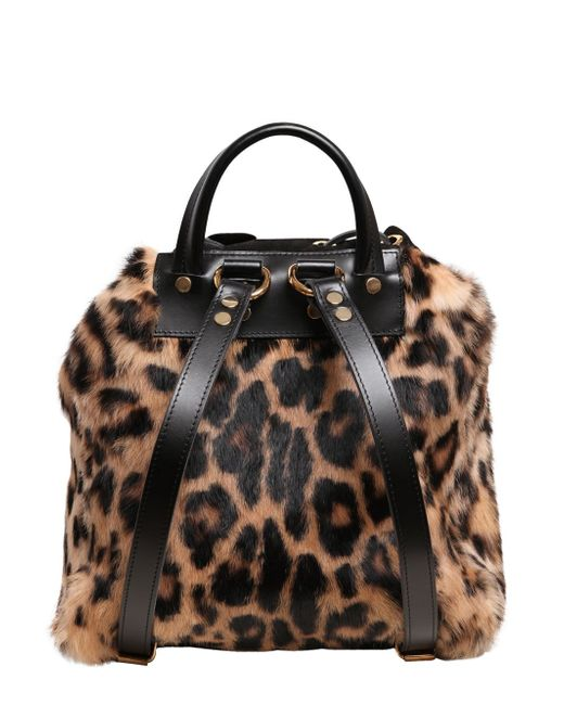 Giuseppe Zanotti Leopard Print Suede Amp Faux Fur Backpack