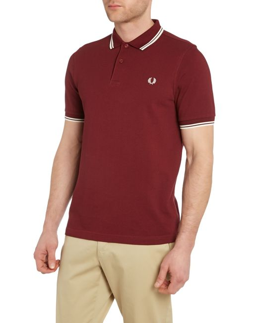 fred perry plain slim fit polo shirt in red for men lyst. Black Bedroom Furniture Sets. Home Design Ideas