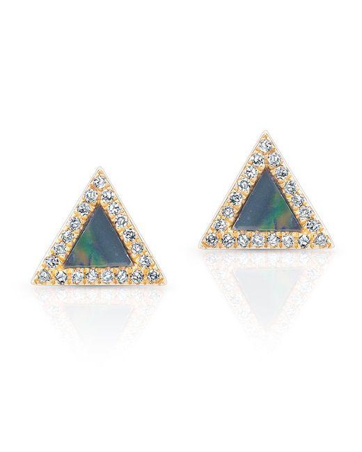 Anne Sisteron - Blue 14kt Yellow Gold Opal Diamond Triangle Stud Earrings - Lyst