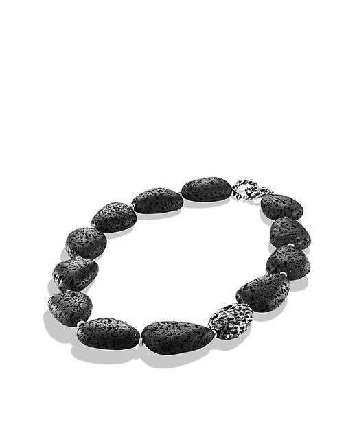 David Yurman   Metallic Dy Signature Collection Naturals Lava Bead Necklace With Diamonds   Lyst