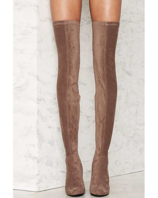 jeffrey cbell perouze thigh high boot taupe in beige