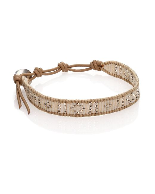 Chan Luu | Metallic Sterling Silver & Leather Beaded Wrap Bracelet | Lyst