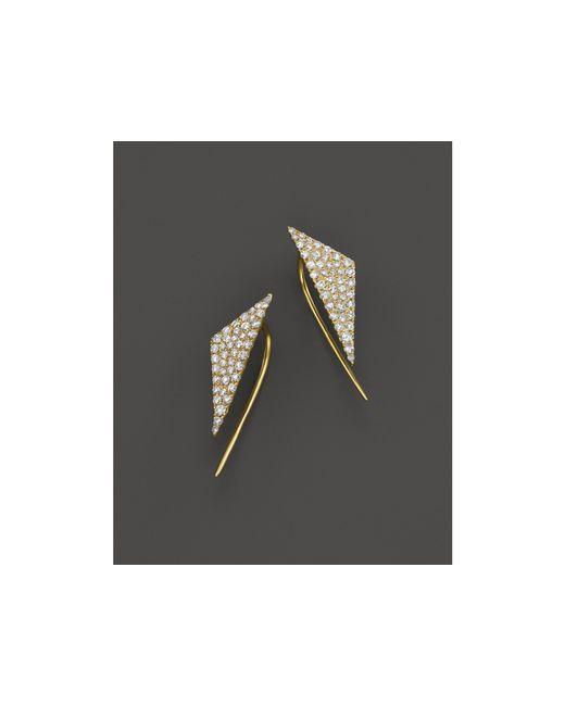 Meira T | Metallic 14k Yellow Gold Diamond Triangle Ear Cuffs | Lyst