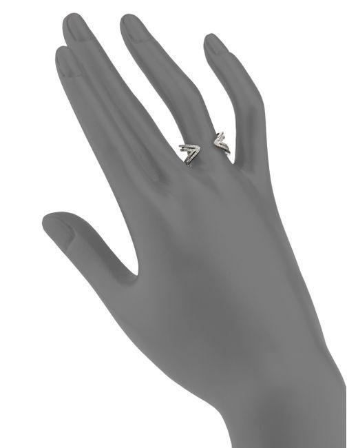 Meira T | Metallic Diamond & 14k White Gold Peaked Open Ring | Lyst